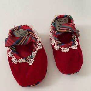 Red velvet newborn Mary Janes, 3-6 mos.
